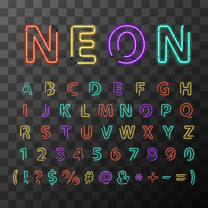 Letras de néon realísticas coloridas, alfabeto latin completo no fundo transparente ilustração royalty free