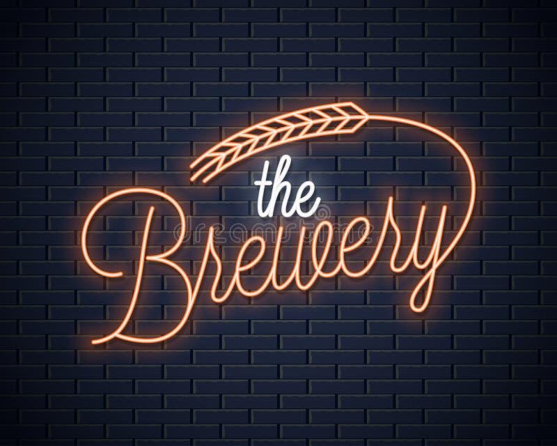 Letras de neón del vintage de la cerveza Señal de neón de la cervecería con trigo en fondo negro ilustración del vector
