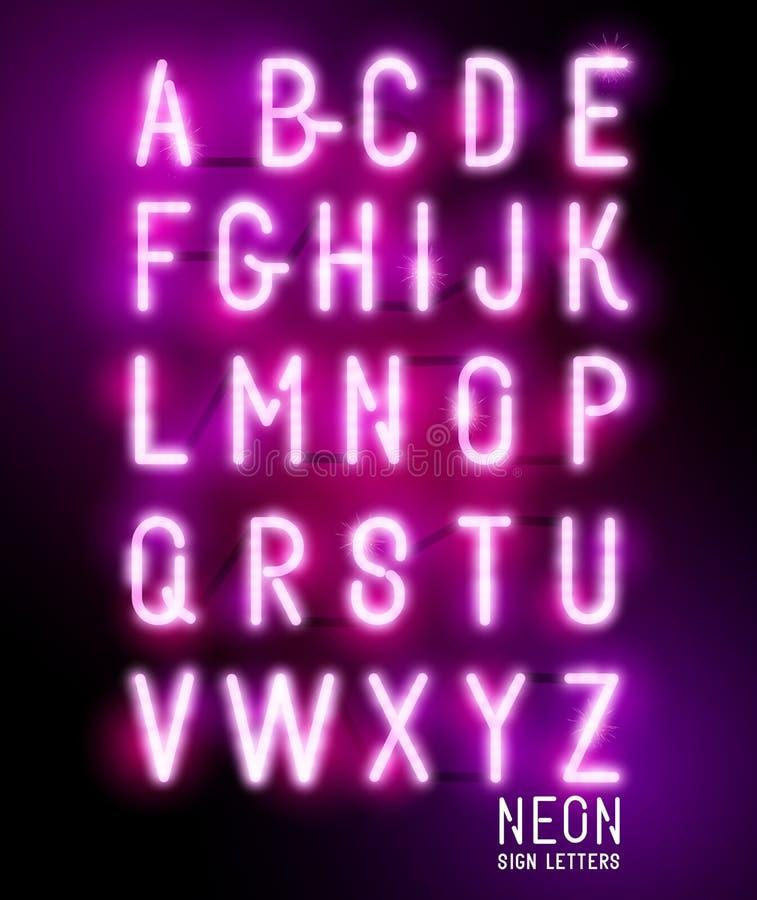 Letras de neón que brillan intensamente retras stock de ilustración