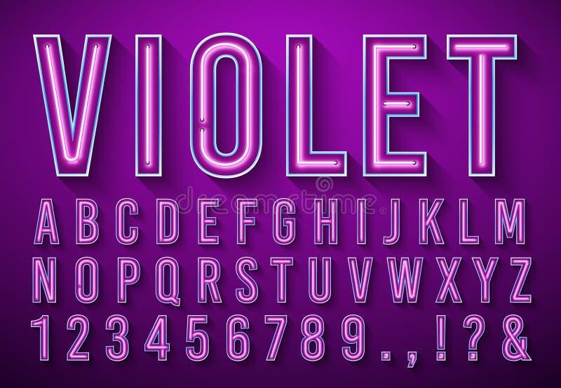 Letras de ne?n brillantes Fuente que brilla intensamente violeta, alfabeto de la caja de luz y luces de neónes poniendo letras co libre illustration