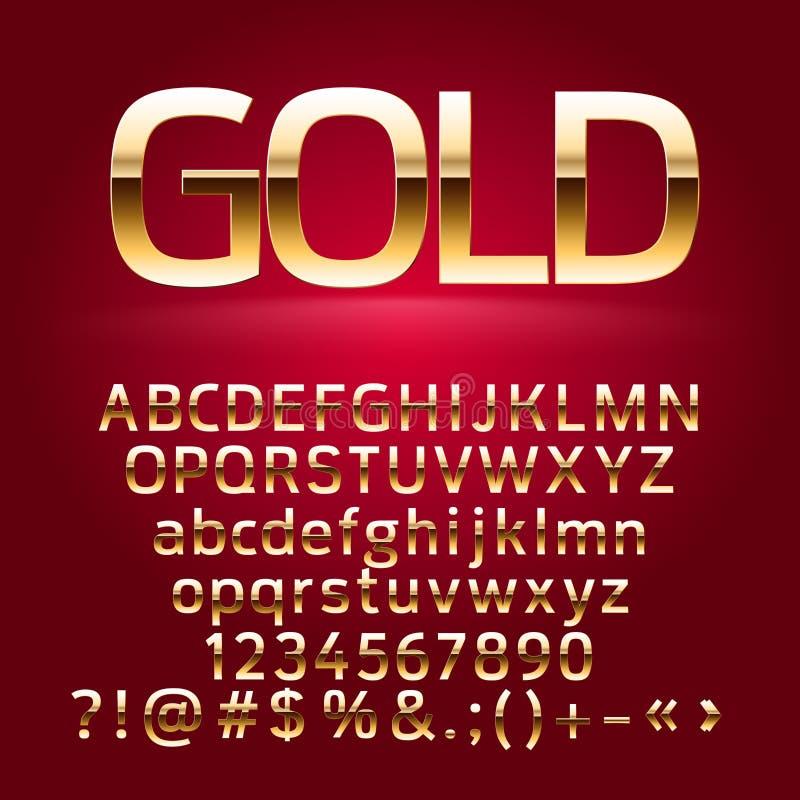 Letras de oro del alfabeto del vector, símbolos, números ilustración del vector