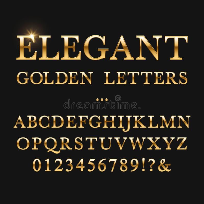 Letras de oro elegantes Alfabeto brillante del vector del oro stock de ilustración