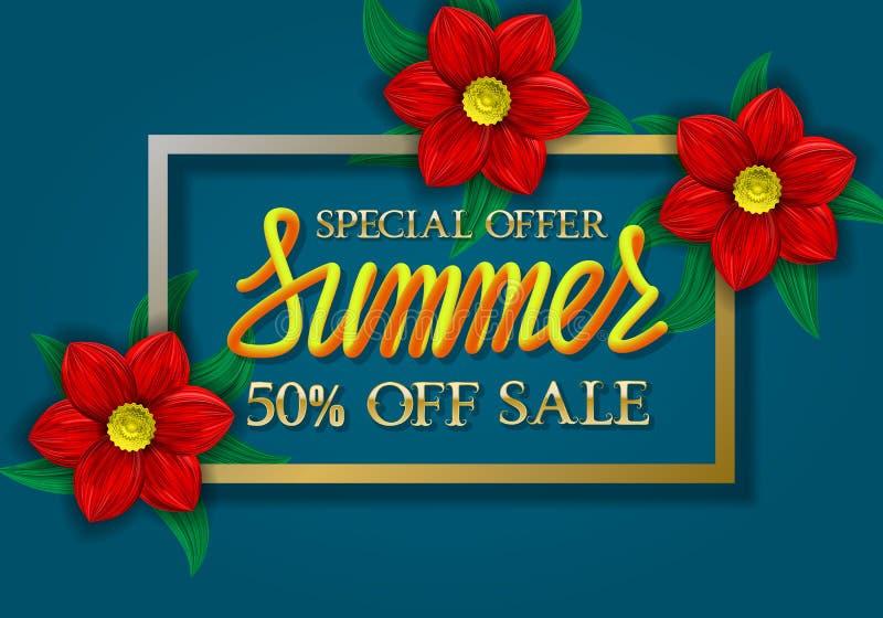 Letras de oro y amarillas de la oferta especial de la venta del verano de la pendiente en fondo azul en marco de oro con las flor stock de ilustración