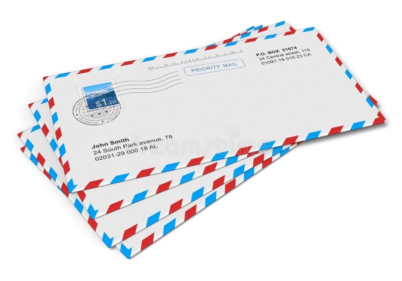 Letras de papel do correio ilustração royalty free
