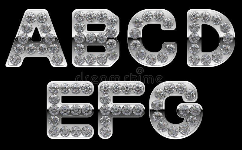 Letras de prata do AG incrusted com diamantes ilustração royalty free