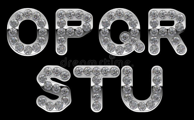 Letras de prata do o U incrusted com diamantes ilustração royalty free