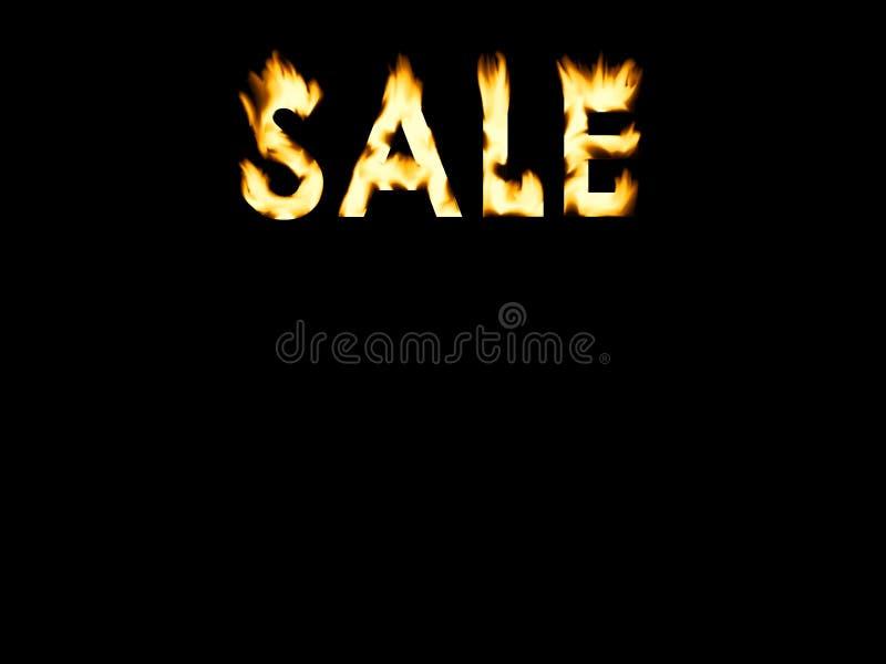 Letras de queimadura da venda com fundo preto ilustração royalty free