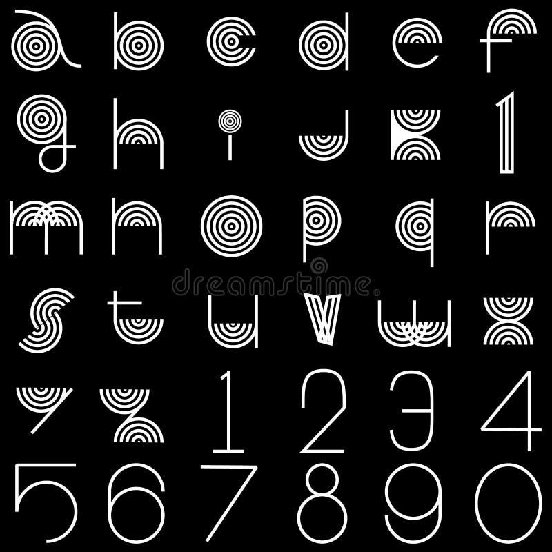 Letras de teste padrão alinhadas branco ilustração royalty free