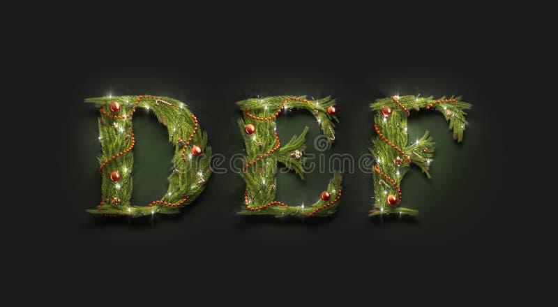 Letras decorativas D E F, mochila de fontes de novo ano na escuridão ilustração do vetor