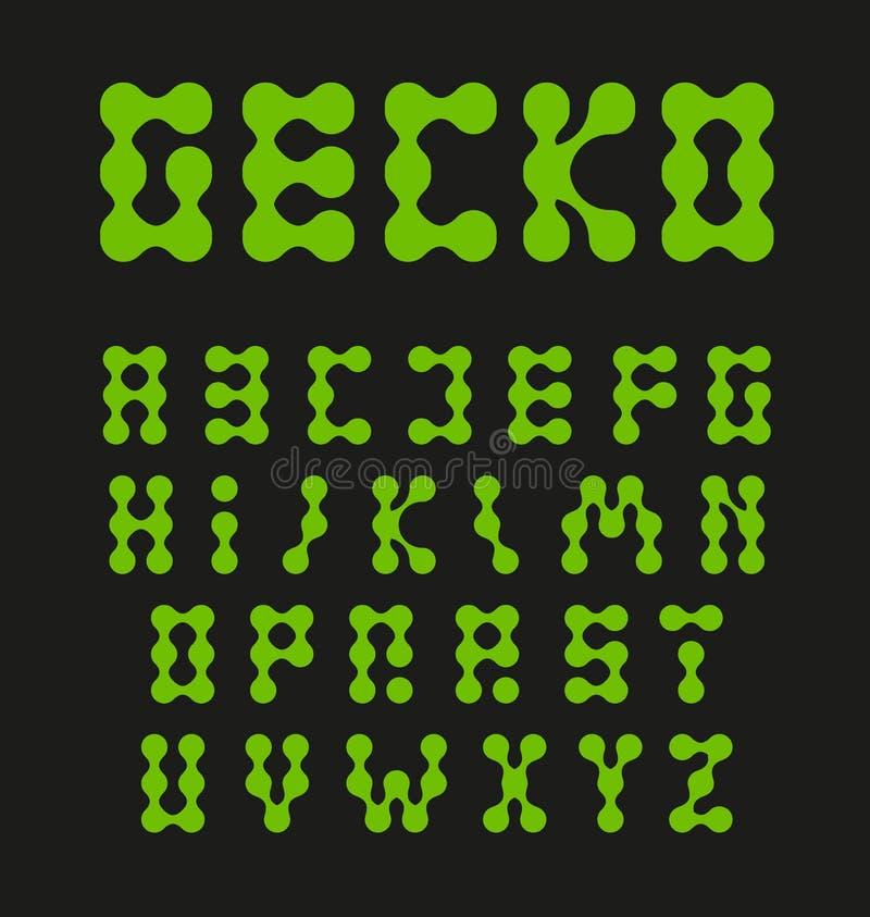 Letras del alfabeto, círculos conectados, gycon del color verde o pies del lagarto Sistema inusual de la letra del vector, fuente libre illustration