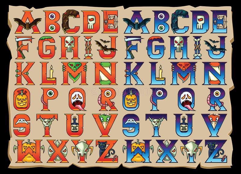 Letras del alfabeto de Halloween fijadas libre illustration
