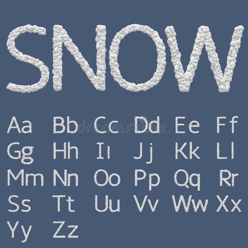 Letras del alfabeto de la nieve ilustración del vector