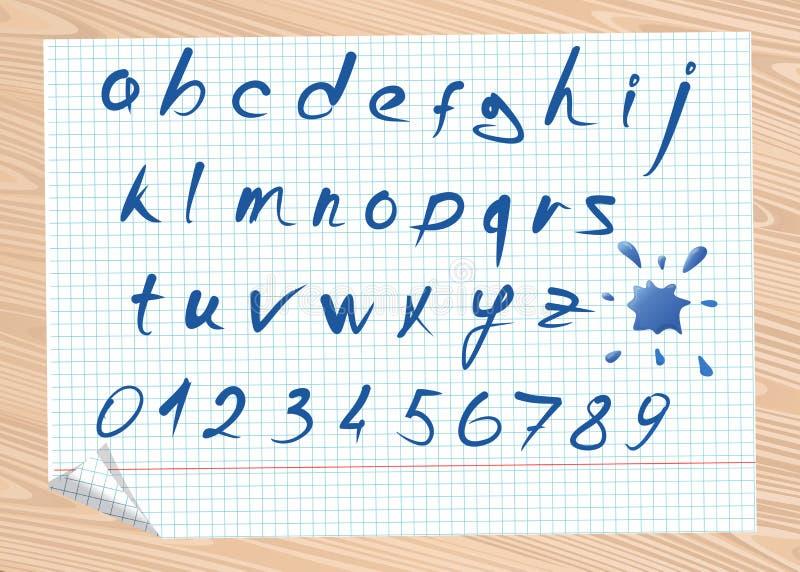 Letras del alfabeto latino y de los números stock de ilustración