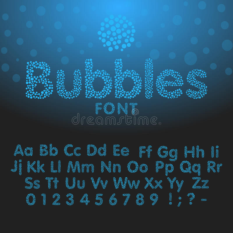 Letras del alfabeto que consisten en burbujas azules ilustración del vector