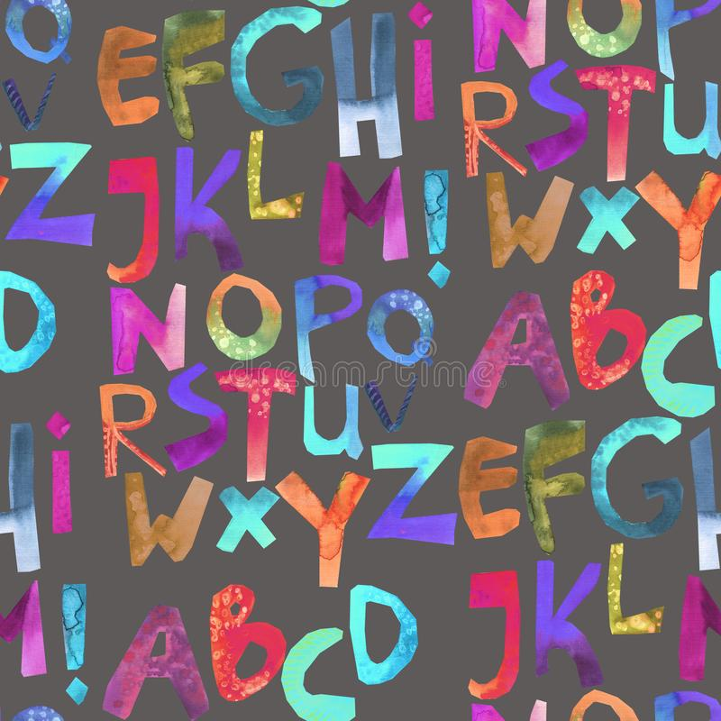 Letras del arco iris en modelo gris stock de ilustración