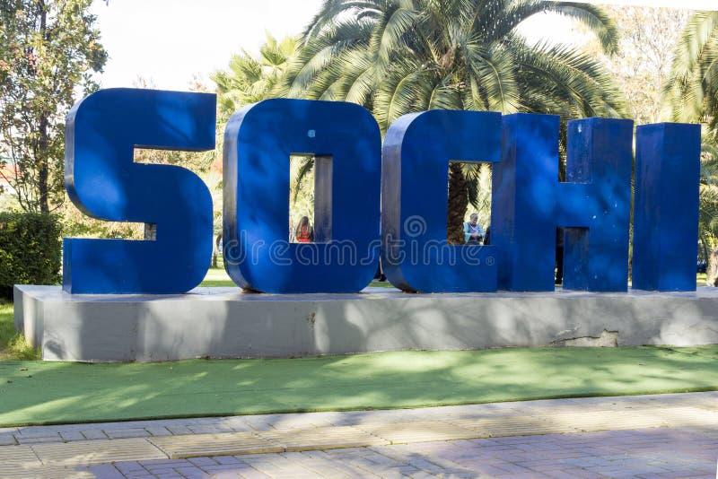 Letras del azul de Sochi de la inscripción imágenes de archivo libres de regalías