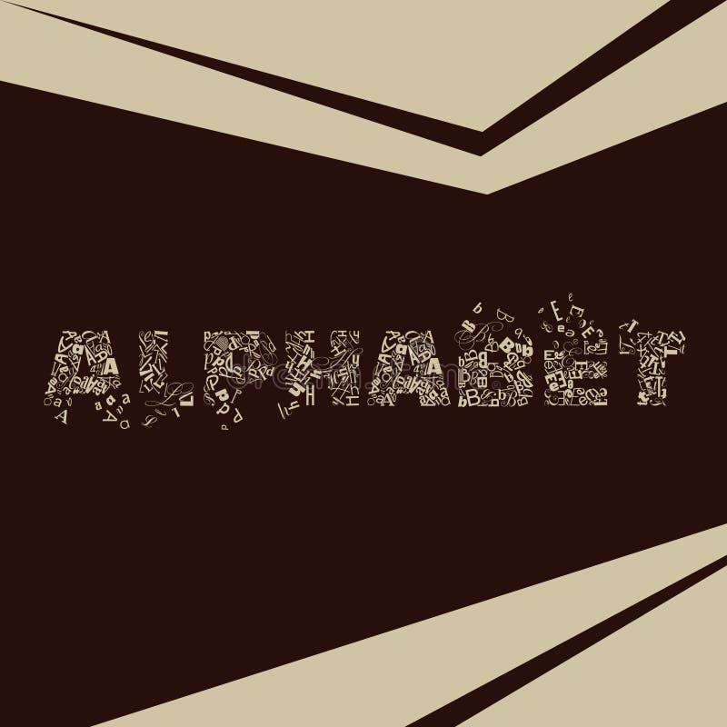 Letras del biege del alfabeto en fondo marrón fotos de archivo