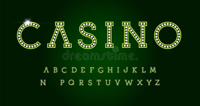 Letras del casino fijadas en fondo verde Alfabeto latino del vector de lujo verde del estilo Fuente para los acontecimientos, neg libre illustration
