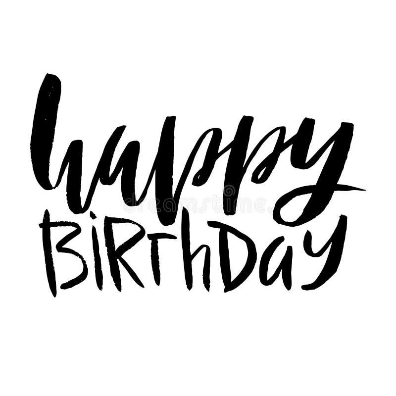 Letras del feliz cumpleaños Inscripción aislada en el fondo blanco ilustración del vector
