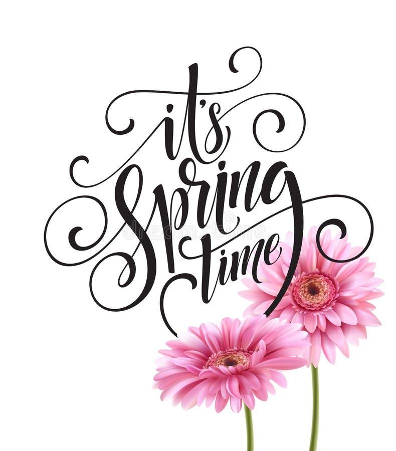 Letras del fondo y de la primavera de la flor del Gerbera Ilustración del vector ilustración del vector