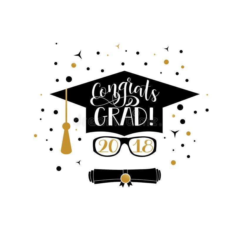 Letras 2018 del graduado de Congrats La enhorabuena gradúa la bandera El casquillo y el diploma de la graduación rodaron el icono ilustración del vector