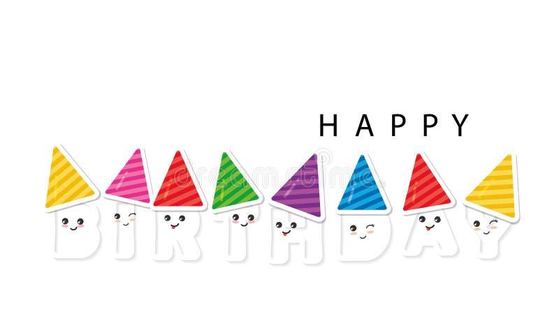 Letras del kawaii de la historieta del feliz cumpleaños Para los carteles, banderas, tarjetas de felicitación, decoración del sit libre illustration