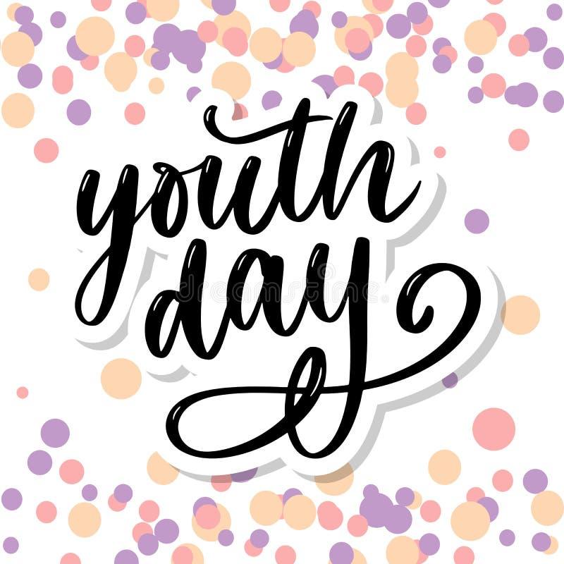 Letras del lema amarillo del fondo del día internacional de la juventud libre illustration