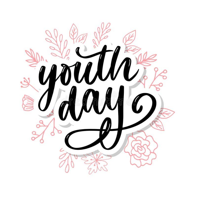 Letras del lema amarillo del fondo del día internacional de la juventud stock de ilustración