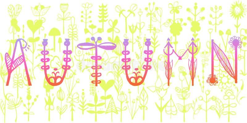 Letras del ` del otoño del ` Tipografía única escrita mano Ilustración del vector para su agua dulce de design stock de ilustración