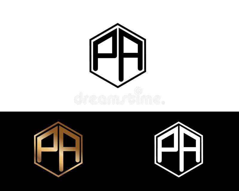 Letras del PA ligadas al logotipo de la forma del hexágono ilustración del vector