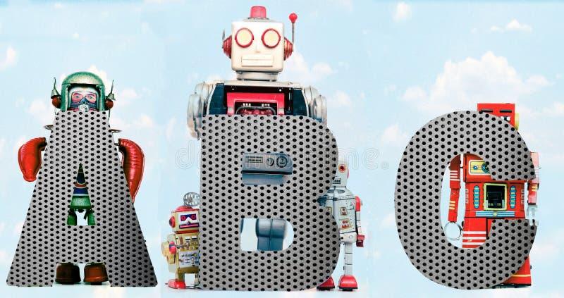 Letras del robot de la guardería de ABC con el cielo fotos de archivo libres de regalías