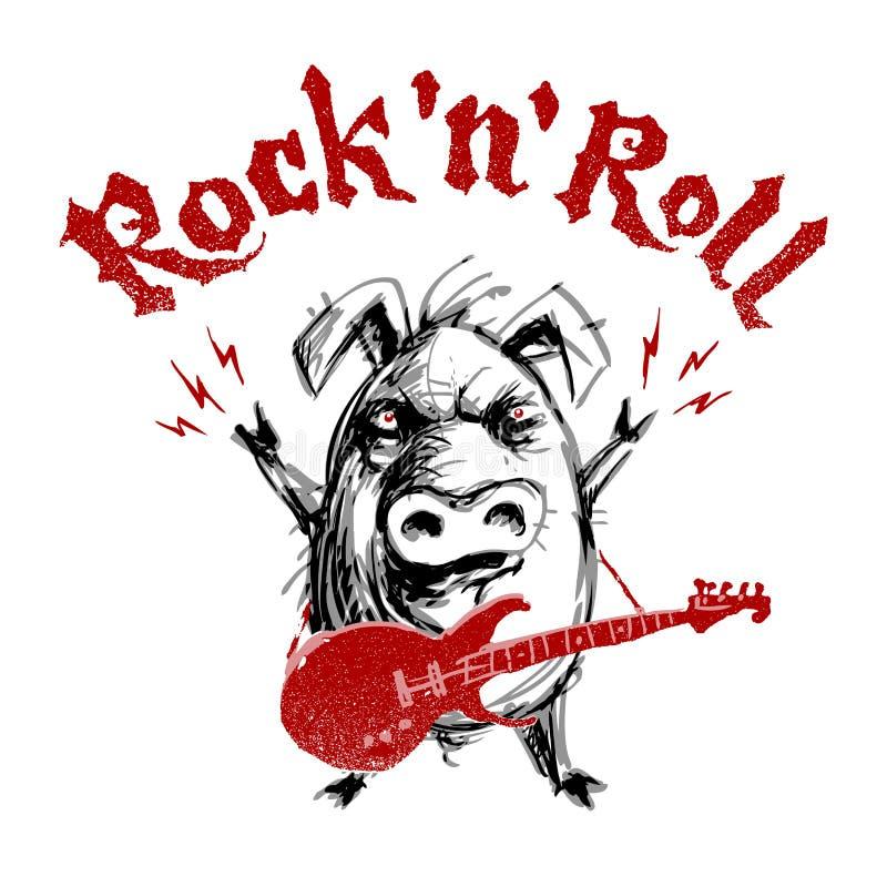 Letras del rock-and-roll con el cerdo de la historieta ilustración del vector