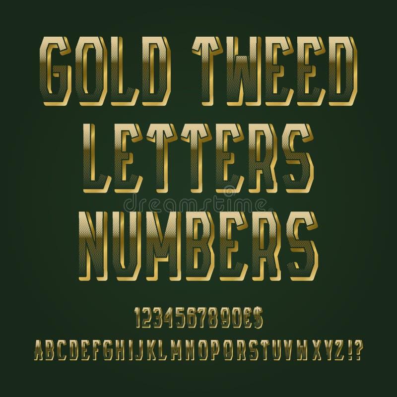 Letras del tweed del oro, números, muestras de moneda del dólar y del euro, exclamación y signos de interrogación stock de ilustración