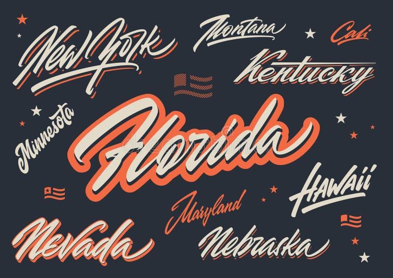 Letras del vector del cepillo de los estados de los E.E.U.U. stock de ilustración