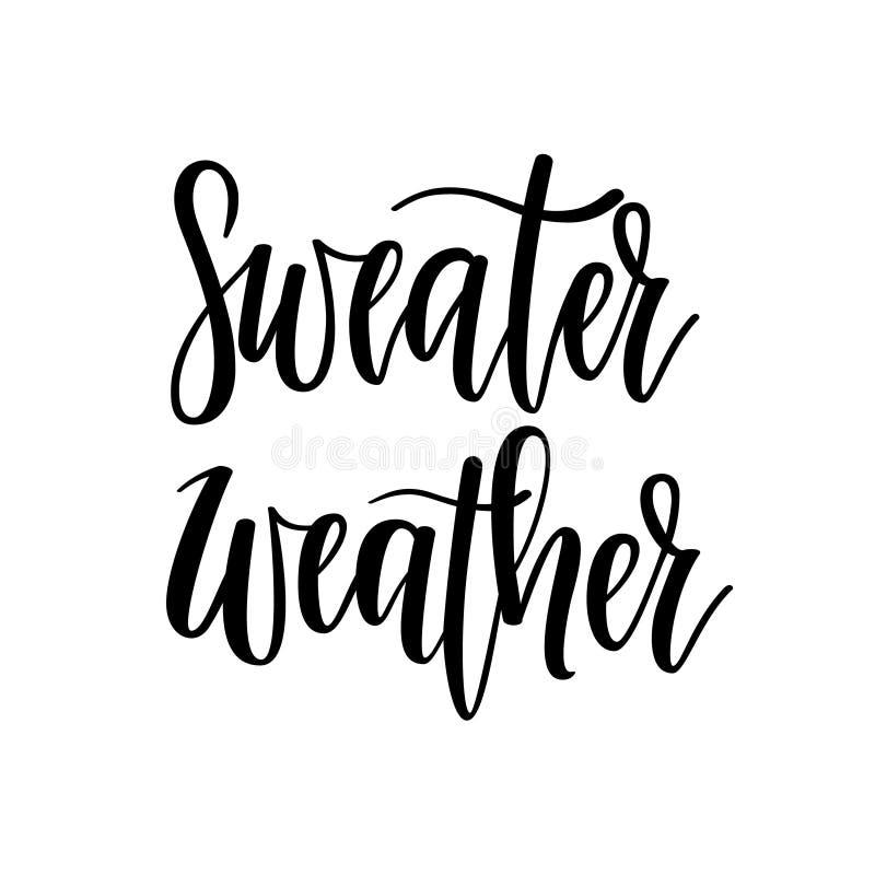 Letras del vector del tiempo del suéter Caída, tiempos del frío del invierno ilustración del vector