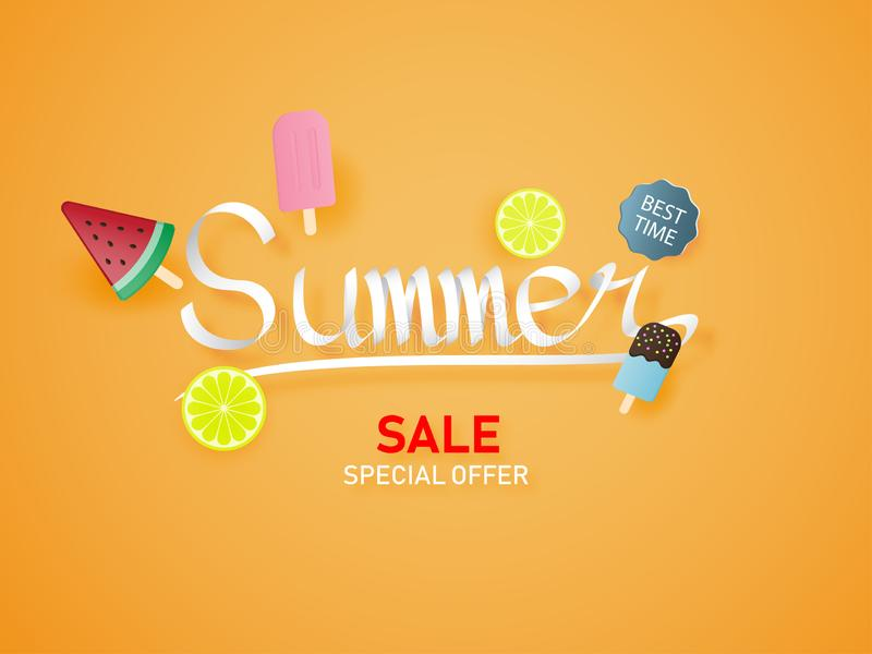 Letras del verano en fondo anaranjado con el helado, sandía, cal Estilo de papel del corte del papel de arte libre illustration