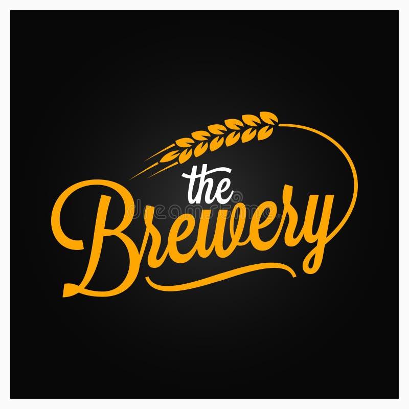 Letras del vintage de la cerveza Logotipo de la cervecería con trigo en fondo negro ilustración del vector