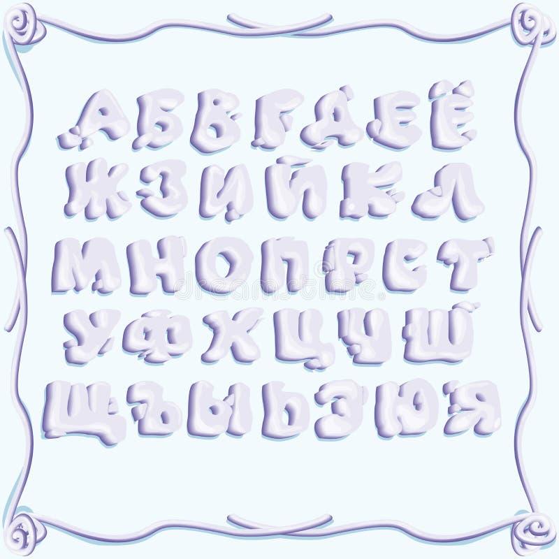 Letras del volumen con una sombra, imitando la inscripción con crema azul, forma suave, irregular libre illustration