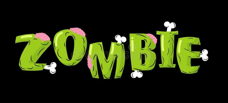 Letras del zombi Huesos y cerebros Tipografía muerta viva ilustración del vector