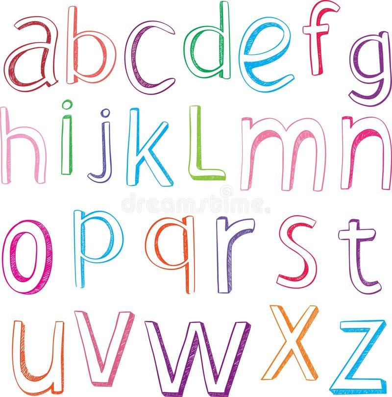 Letras Desenhadas Mão Do Alfabeto Foto de Stock