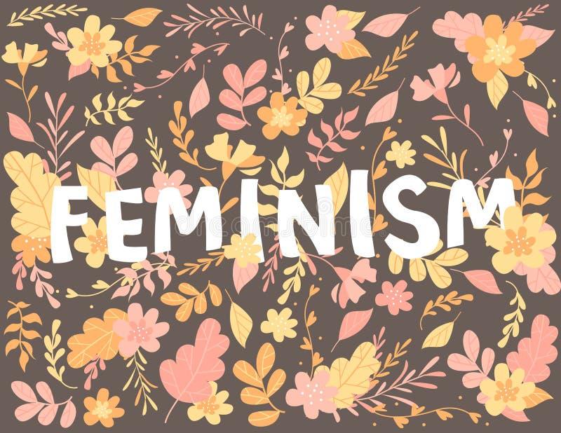 Letras desenhados à mão, feminismo do texto, flores e plantas, ilustração colorida ilustração royalty free