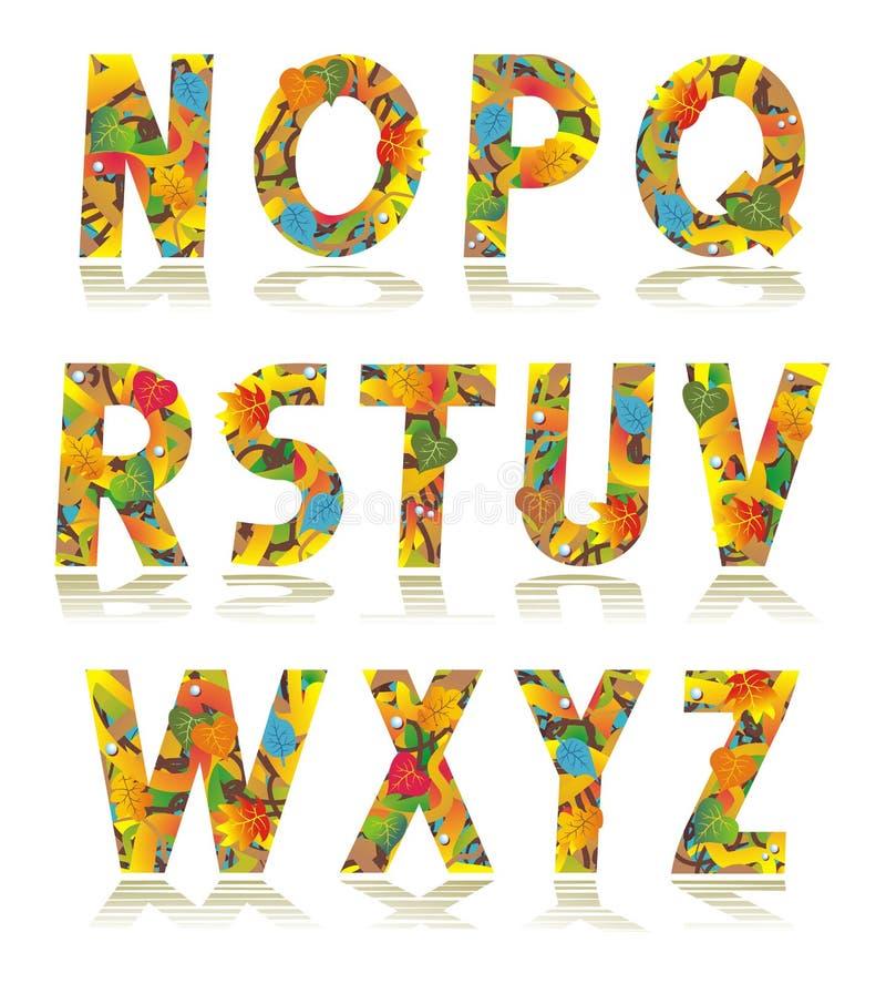 Letras determinadas N - Z del alfabeto del otoño stock de ilustración
