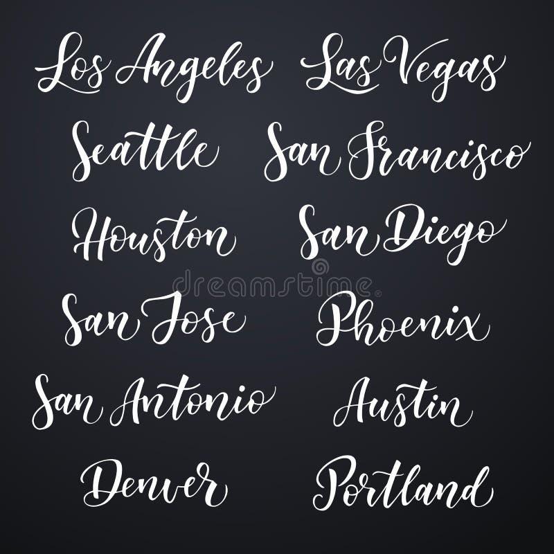Letras dibujadas mano americana del vector de la ciudad Cepille la tipografía, los E.E.U.U. - Los Ángeles, Las Vegas, Seattle, Sa stock de ilustración