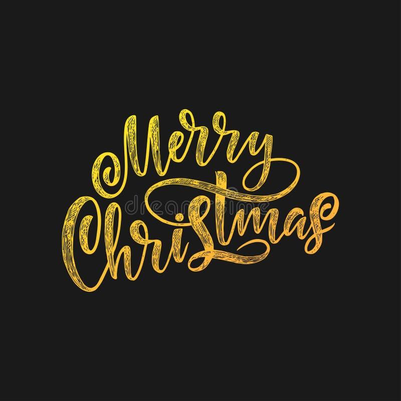Letras dibujadas mano decorativa Feliz Navidad de la frase manuscrita aislada en fondo negro Diseño de moda del vector stock de ilustración