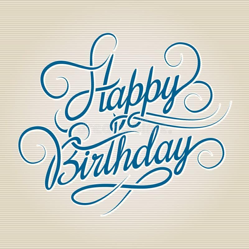 Letras dibujadas mano del feliz cumpleaños stock de ilustración
