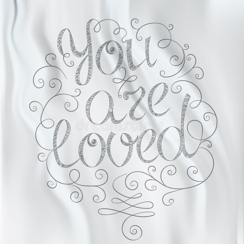 Letras dibujadas mano del texto Le aman stock de ilustración
