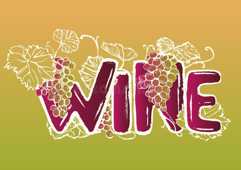 Letras dibujadas mano del vino de la tinta ilustración del vector