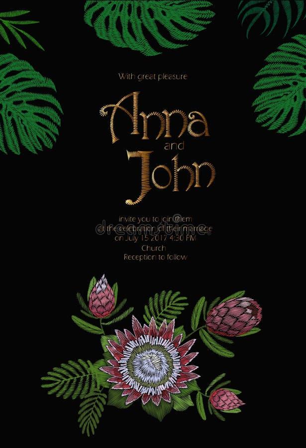 Letras dibujadas mano del vintage de la tarjeta de la plantilla de la fecha de la reserva de la invitación de la boda Hojas exóti libre illustration