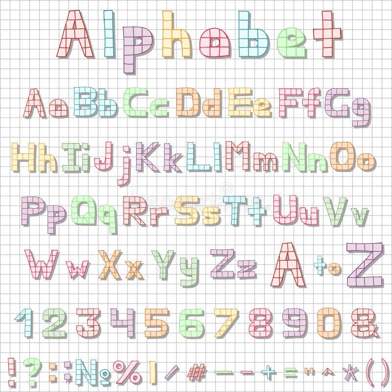 Letras dibujadas mano divertida del alfabeto latino, bosquejo ilustración del vector