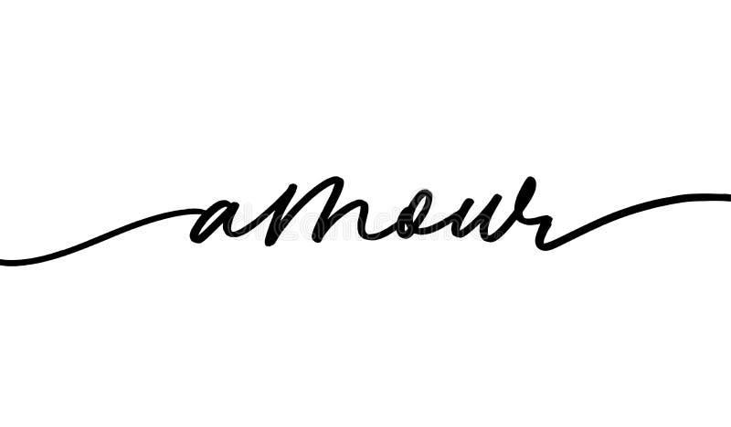 Letras dibujadas a mano monocromas de amour stock de ilustración